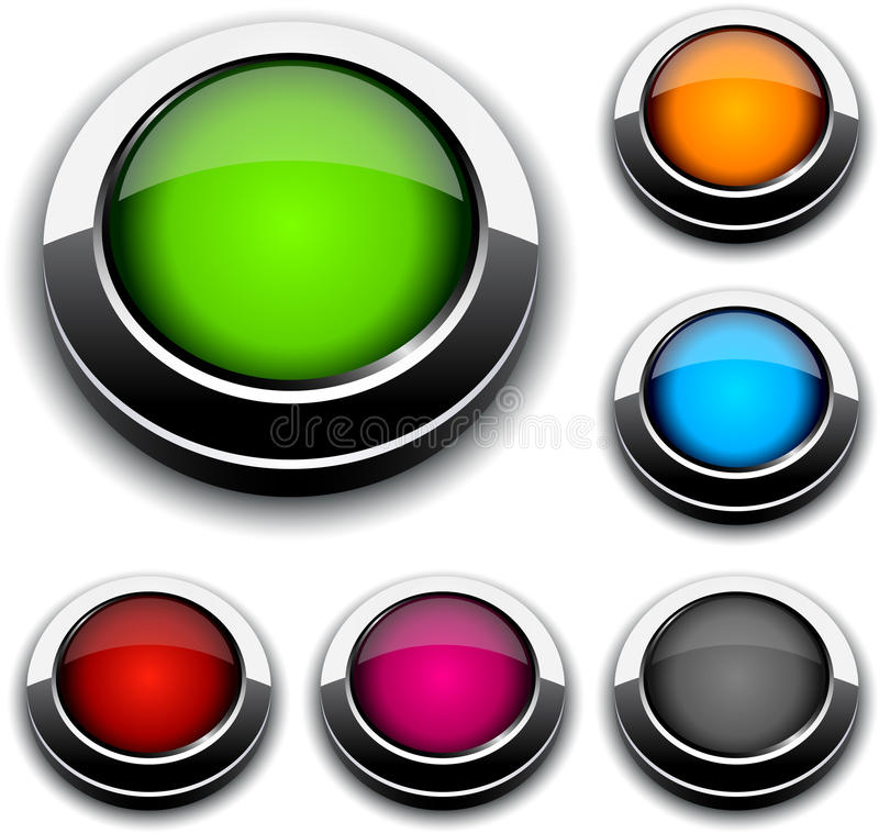 Round 3d buttons. Blank 3d round buttons. Vector stock illustration