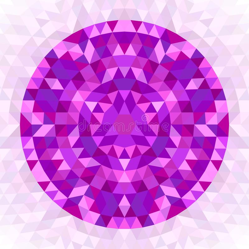 Round abstract geometrical triangle kaleidoscopic mandala design symbol. Symmetric vector pattern art from colorful triangles vector illustration