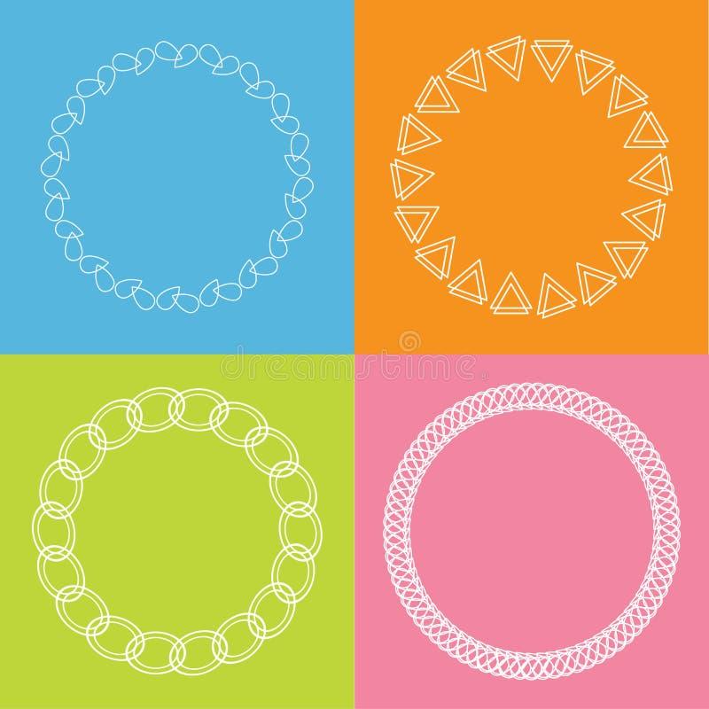 Round abstrakcjonistycznego geometrycznego kształt ramy konturu skutka ustalonego Błękitnego tła Płaski projekt royalty ilustracja