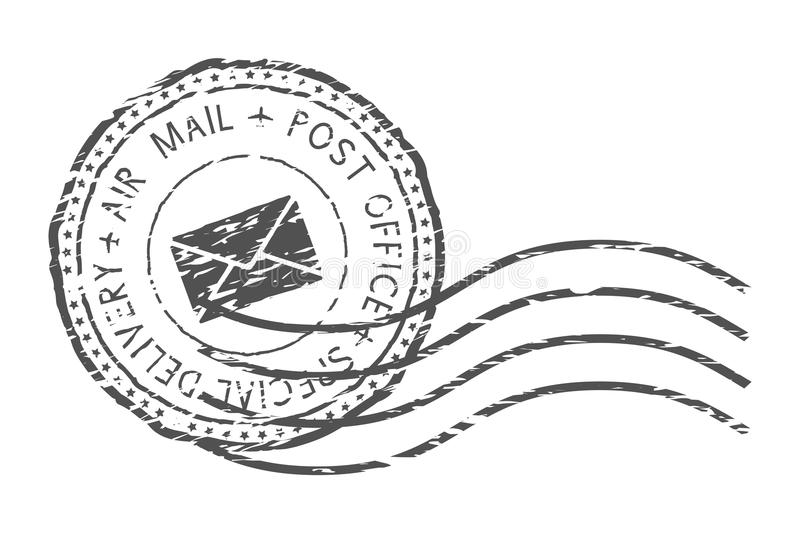 Round air mail black postmark with envelope sign. Vector illustration isolated on white background vector illustration