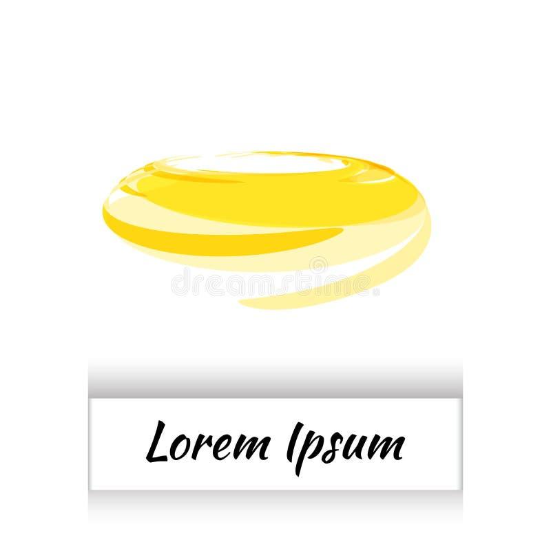 Round akwareli Żółty okrąg lub Aquarelle Round plama Odizolowywająca ilustracja wektor