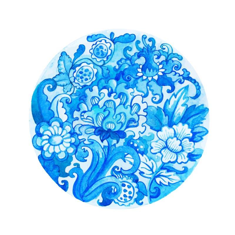 Round akwareli kwiecisty ornament ilustracji