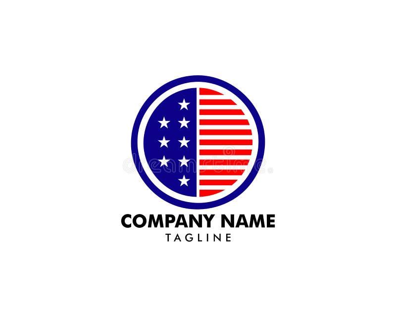 Round American flag star stripes logo design, US national symbol vector logotype royalty free illustration