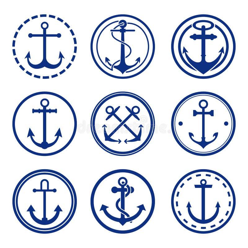 Round anchor symbols vector illustration. Set of nine anchor signs in circles vector illustration. Sailing and navy symbols. Maritime signs. Nautical equipment vector illustration