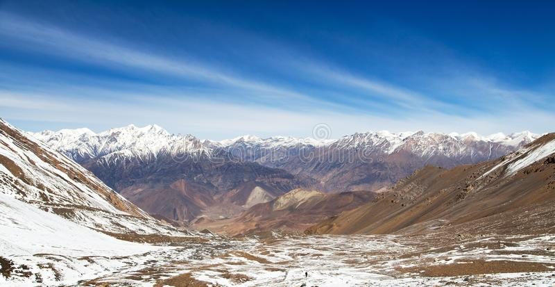 Round Annapurna circuit trekking trail, Thorung La pass. Round Annapurna circuit trekking trail, view from Thorung La pass to Lower Mustang and Dhaulagiri Himal royalty free stock images