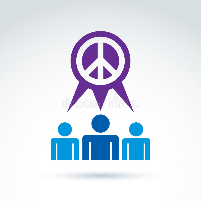 Round antiwar vector icon, speech bubble with no war symbol, global peace conceptual sign from 60th. People talk on global peace. stock illustration