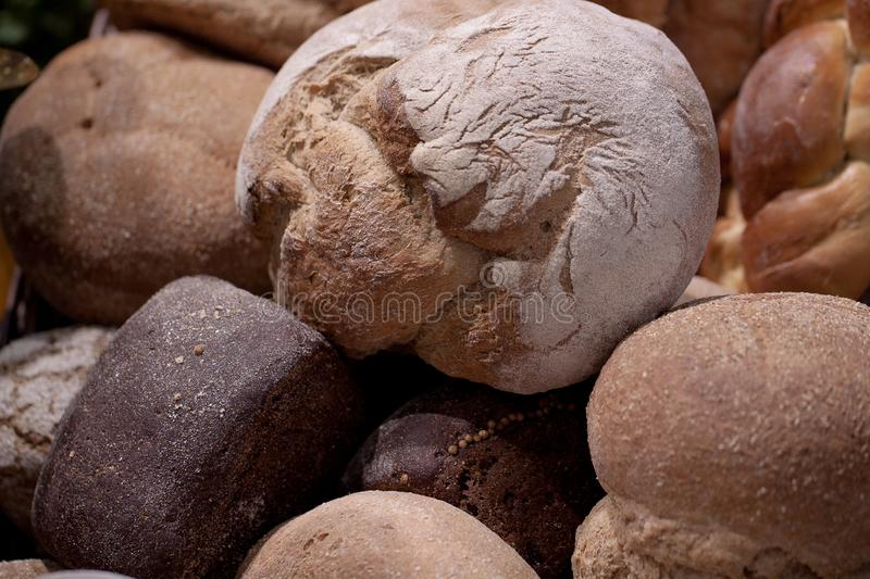 Round appetizing and tasty loaves royalty free stock image