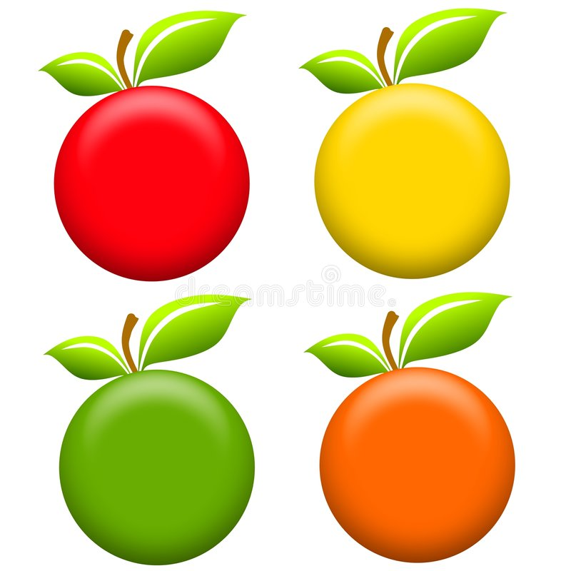 Round Apples Clip Art. An illustration featuring an assortment of apples for use as icons or clip art in red, yellow, green and orange. Well, ok, the last one royalty free illustration