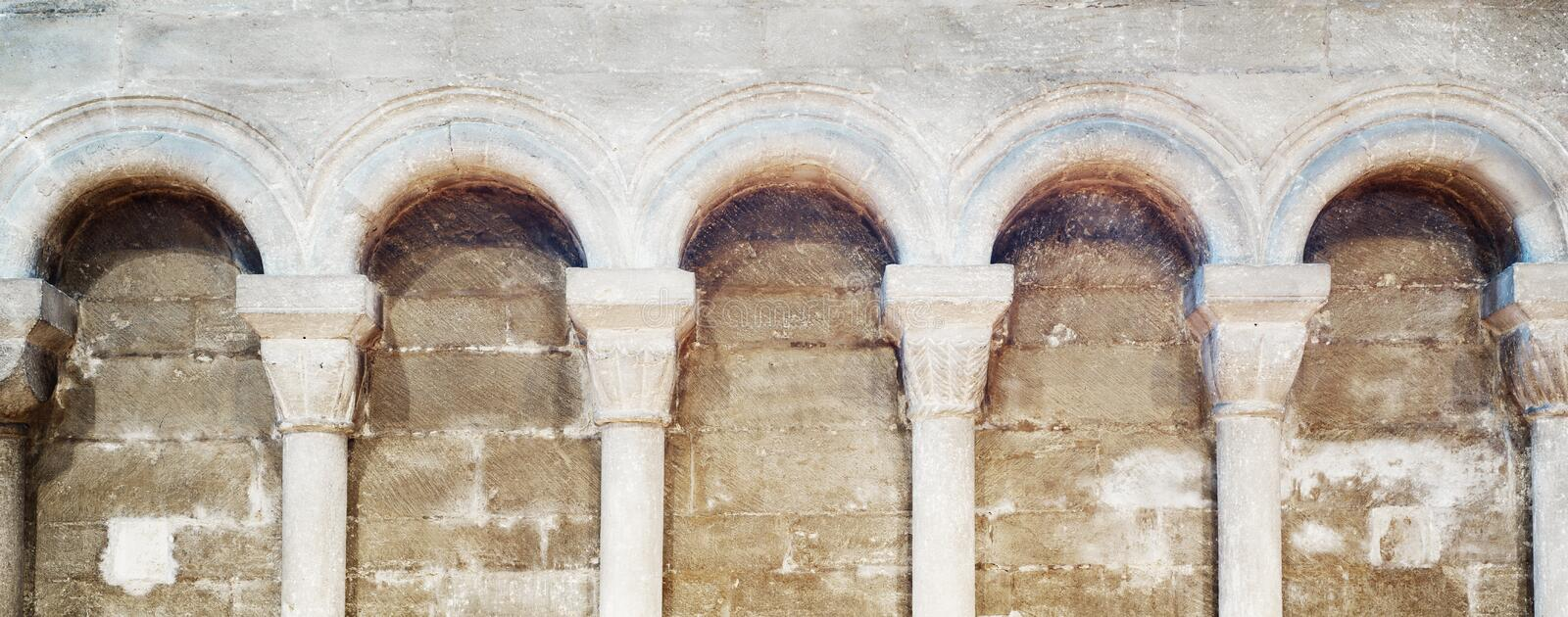 Round arches at cathedral of Peterborough royalty free stock photos