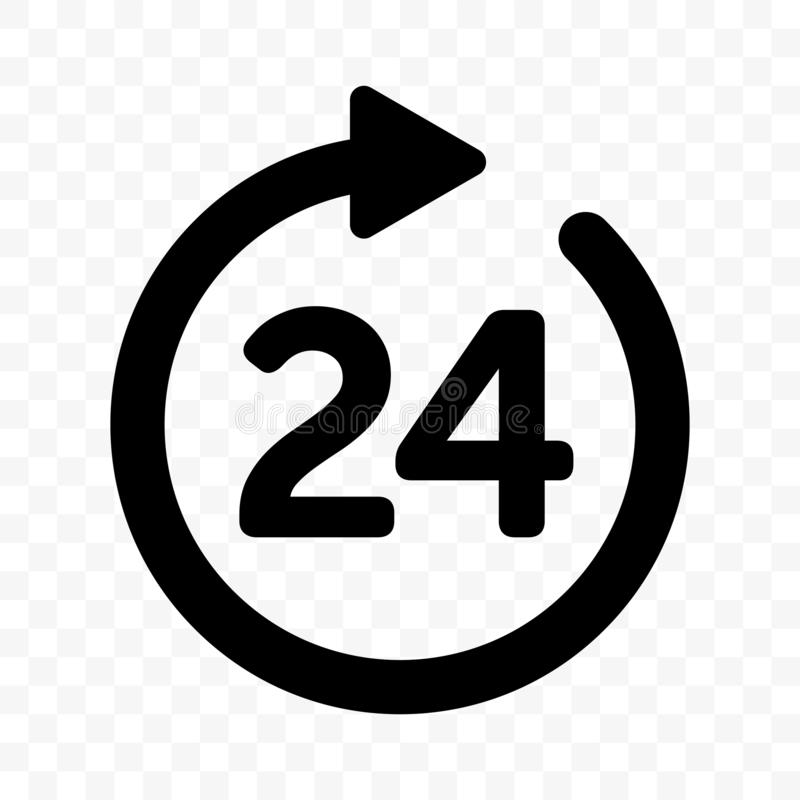 24 round arrow vector icon. Customer support, delivery and 24 hours open round clock sign. Outline royalty free illustration