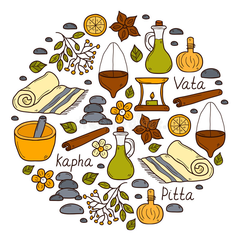 Round ayurveda background. In hand drawn style: herbs, stones, oil, spices, aromatherapy, towel. Auyrveda healthcare and treatment concept for your design. The royalty free illustration