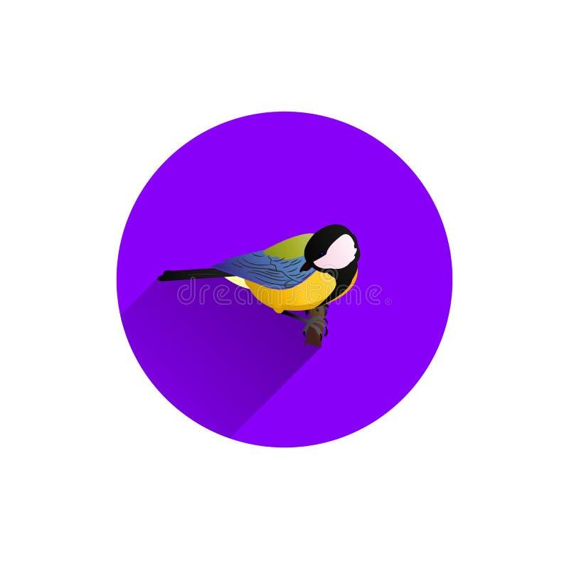Round błękitna ikona dla miejsca, ptak na gałąź, tit, mieszkanie styl, ilustracji