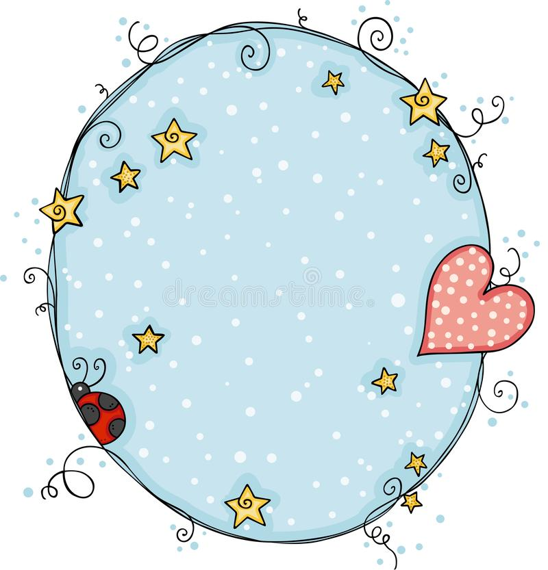Round błękitny tło z sercem i biedronką ilustracja wektor