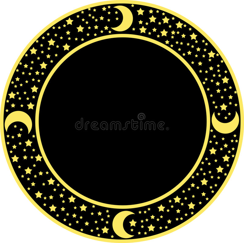 Round background with stars stock illustration