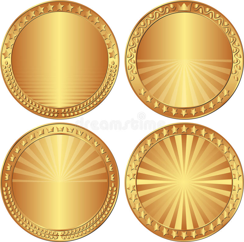 Round backgrounds. Set of round backgrounds with stars, crowns and laurel wreath stock illustration