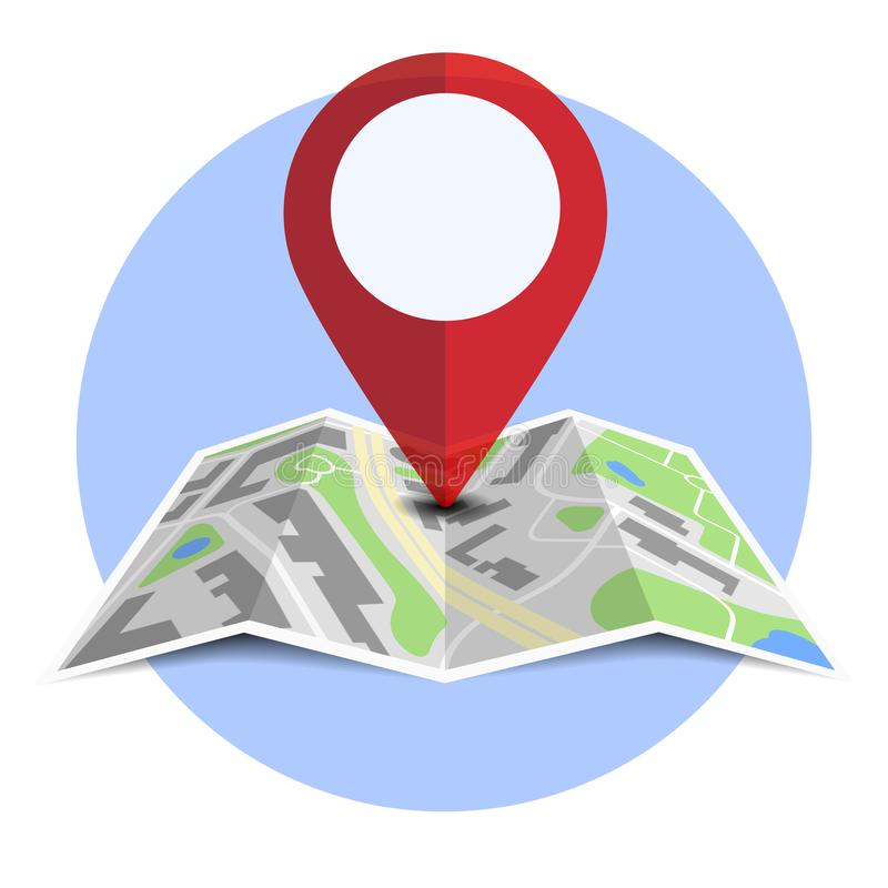 Round badge with generic folded map with location pin and shadow. Vector illustration royalty free illustration