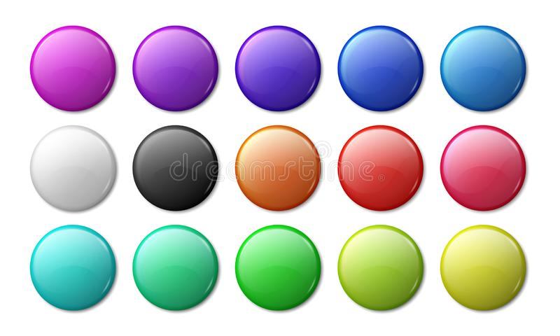Round badge mockup. Circle magnet 3D badge, simple glossy plastic or metal labels. Vector realistic multicolor magnet vector illustration