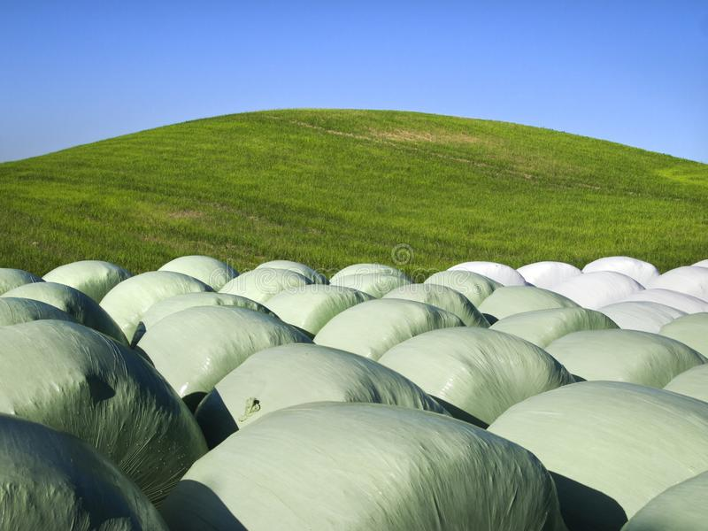 Round bales and a hill royalty free stock image