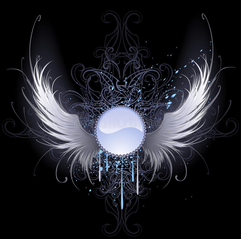 Round banner with angel wings. Round blue banner with artistically painted white angel wings on a black background decorated with a pattern and blue paint