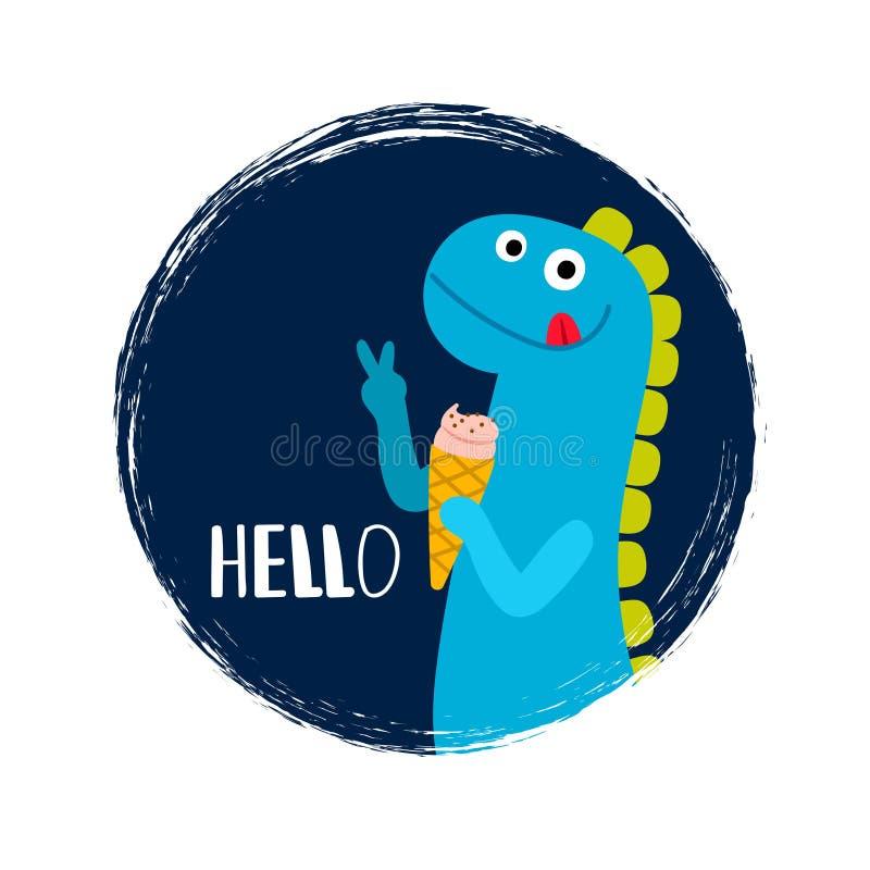 Round banner with baby dinosaur stock illustration