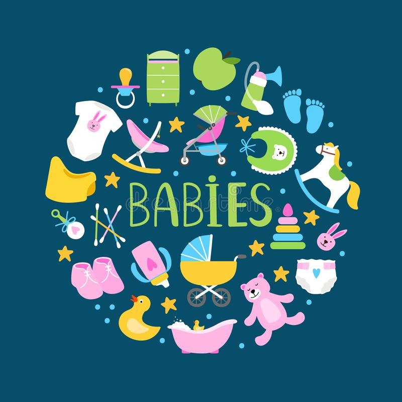 Round banner or background with cute babies accessorises. Vector round shape badge with accessory for baby, pacifier, diaper and stroller illustration royalty free illustration