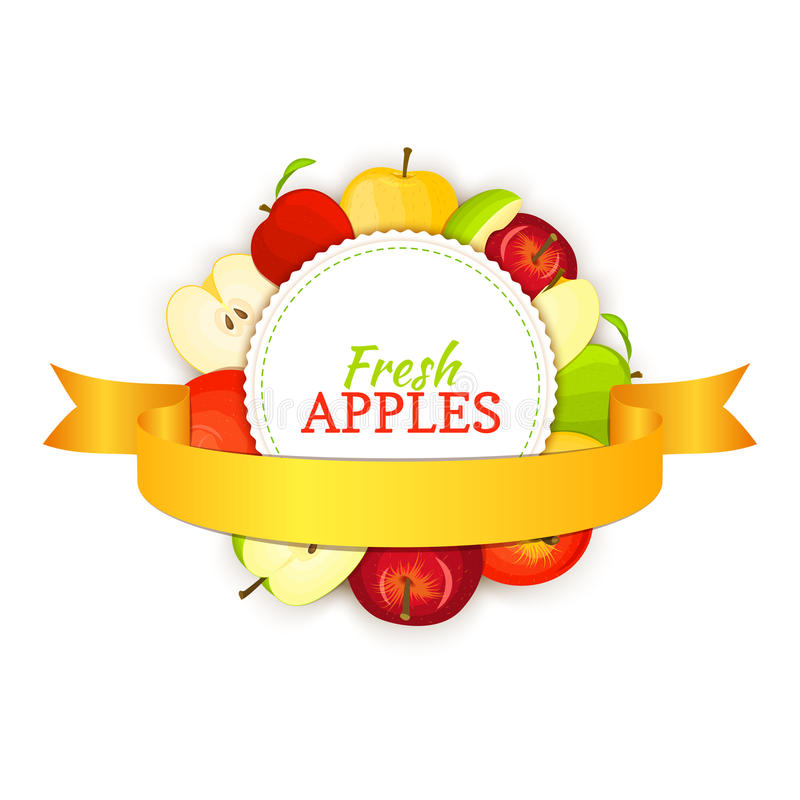 Round banner composed of different appels fruit and gold ribbon. Vector card illustration. Circle apple frame. Yellow stock illustration