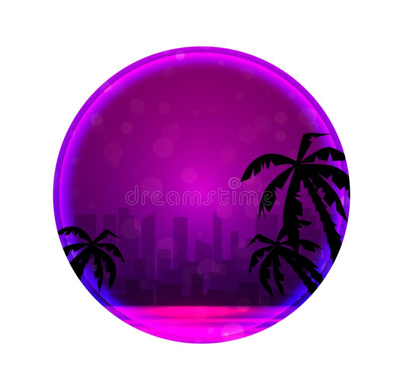 Round banner with Evening illustration of a city beach with palm trees and neon circles. Object separated from the background.  Vector landscape for your stock illustration