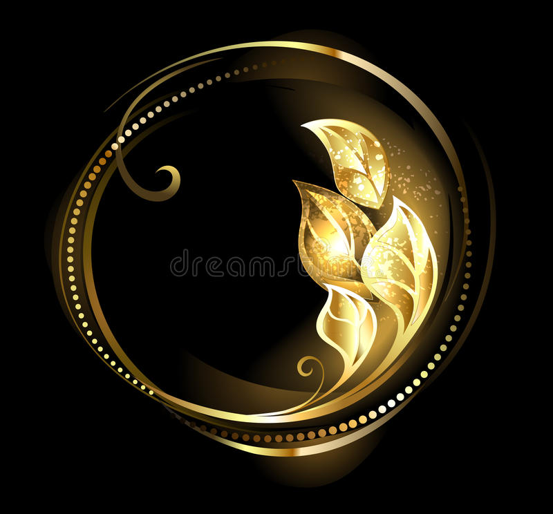 Round Banner with Golden Leaves stock illustration