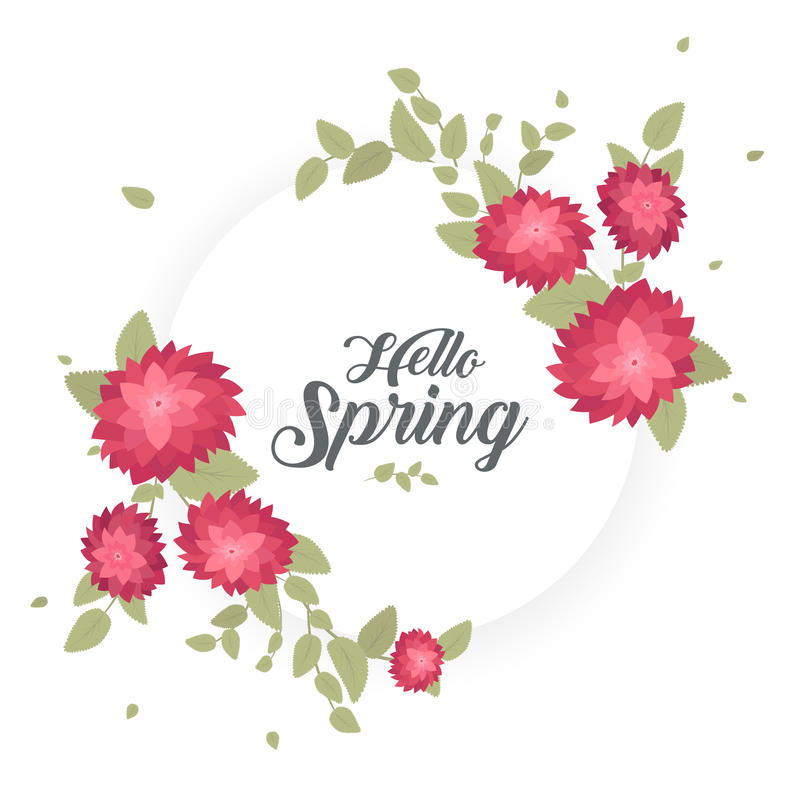 Download Round Banner With The Hello Spring Logo. Card For Spring Season  With White Frame