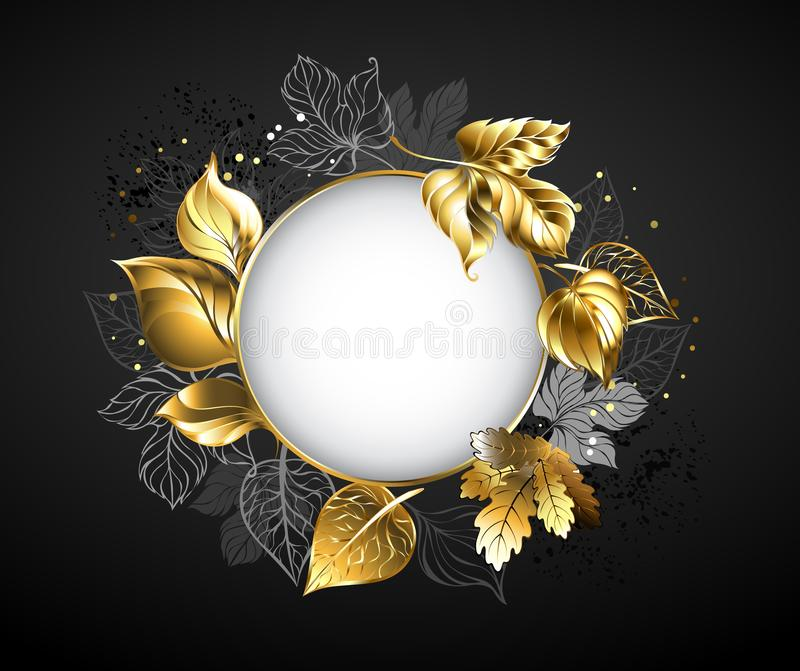 Round banner with leaves on black background vector illustration