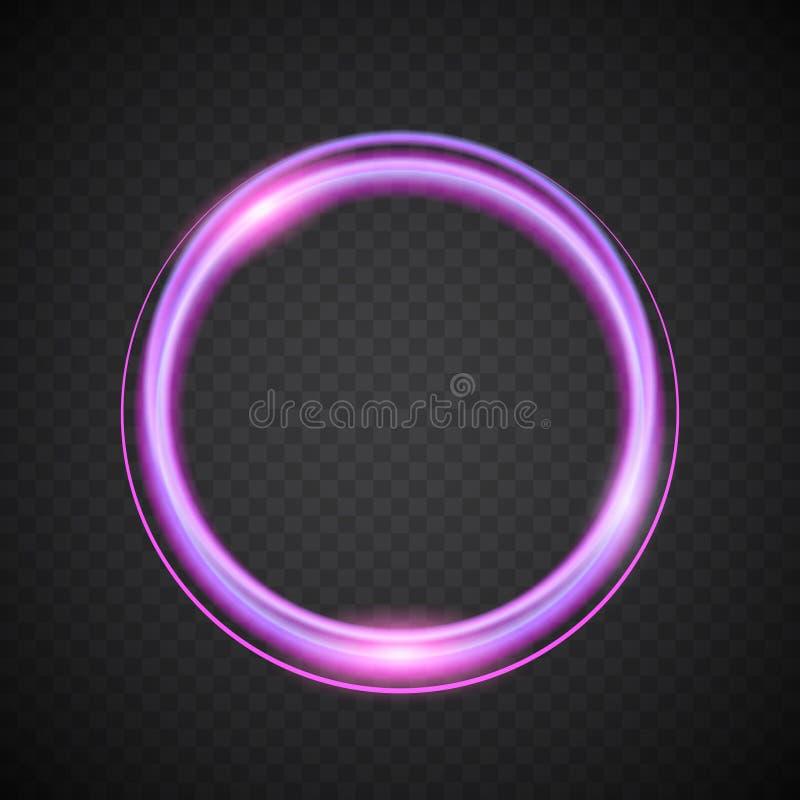 Round banner with purple glow on dark background, vector illustration royalty free illustration