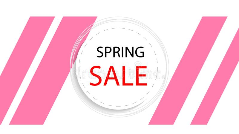 Round banner of spring discounts stock illustration
