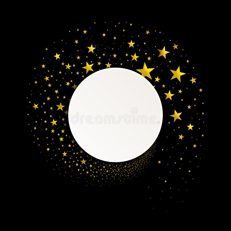 Round Banner with a Stream of Gold Stars stock illustration