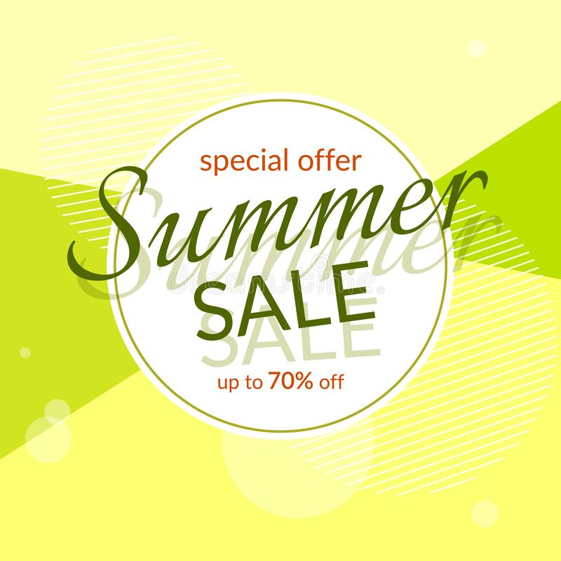 Round banner Summer sale special discount 70% off on a modern geometric background Summer bright colors Design template. Round banner Summer sale special royalty free illustration