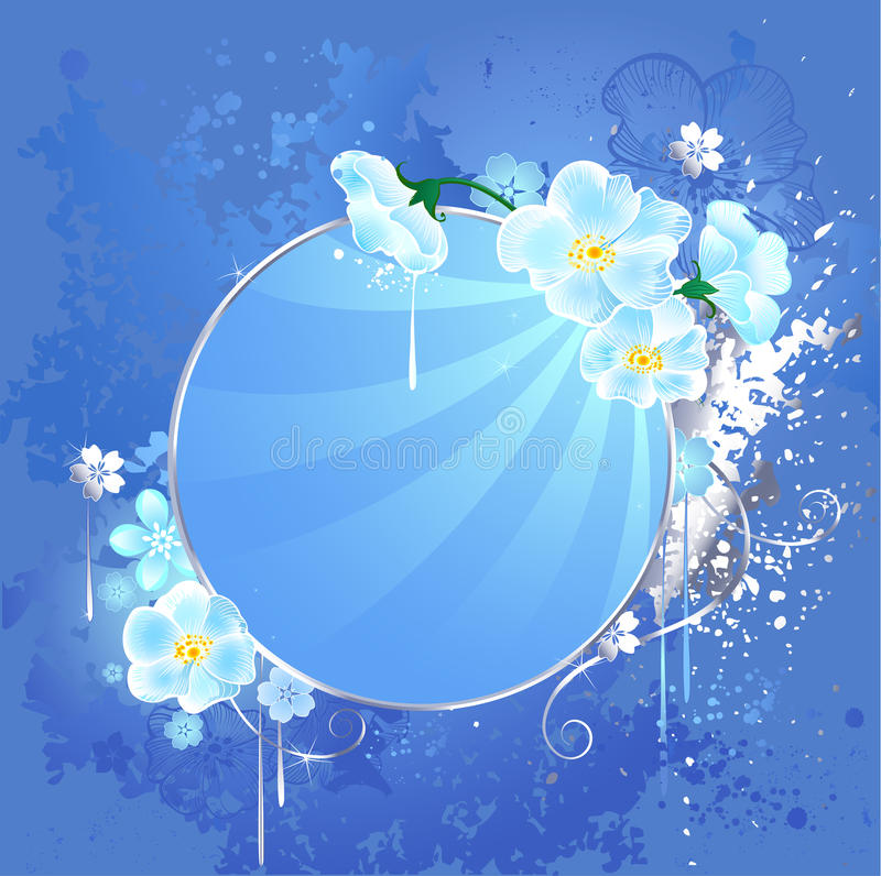 Download Round Banner With White Flowers Stock Image - Image of outline, blue: 19705907