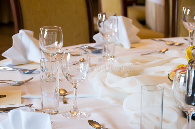 Round banquet table stock photos