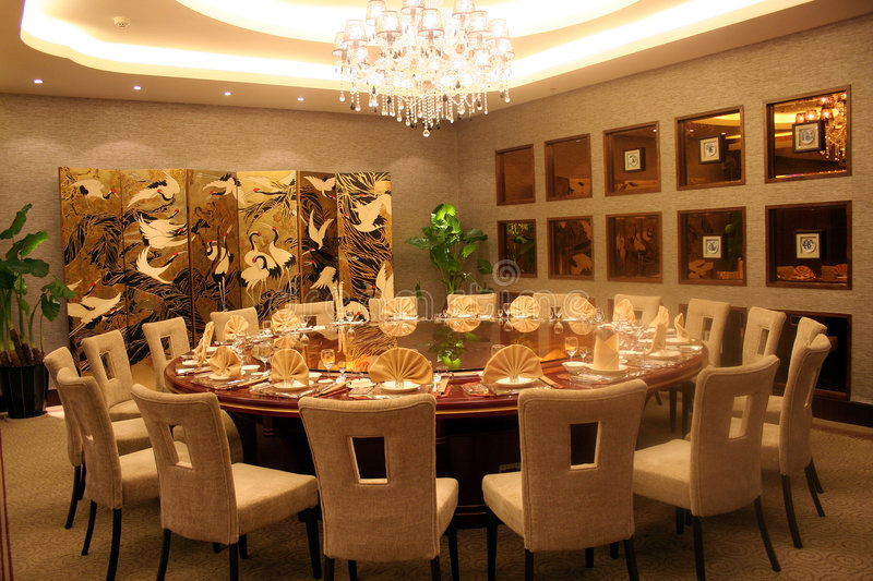 Round banquet table stock photography