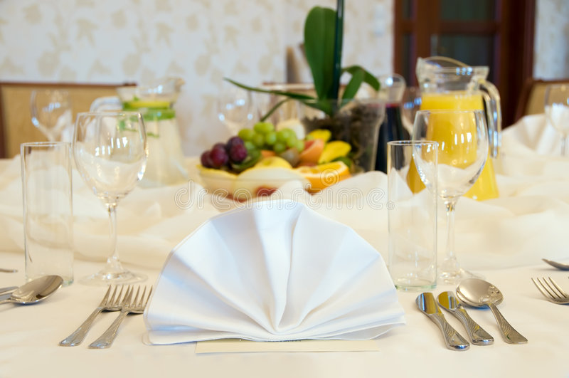 Round banquet table setting stock photo
