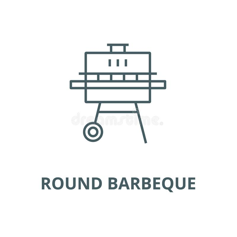Round barbeque vector line icon, linear concept, outline sign, symbol vector illustration