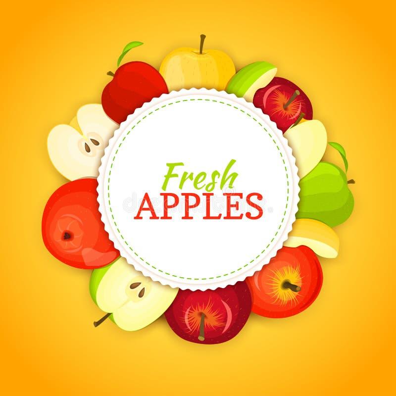 Round barwiona rama komponował różni appels owocowi Wektor karciana ilustracja Okręgu jabłka rama Kolor żółty, czerwień i ilustracji
