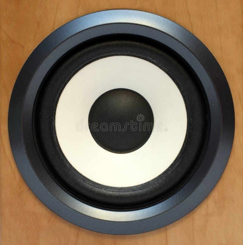 Round bass sound speaker. Close-up stock image