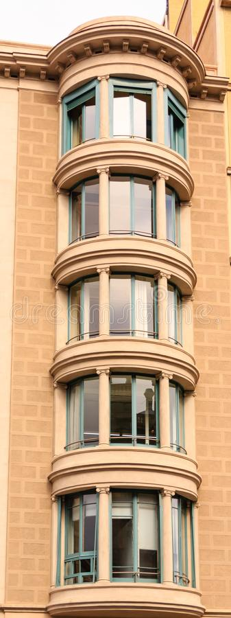 Round Bay Windows in Apartments. In Barcelona royalty free stock photo