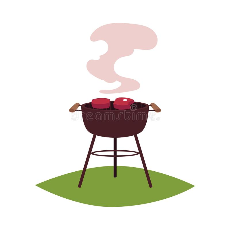 Round BBQ, barbecue, charcoal grill with steaks. Round BBQ, barbecue, charcoal grill with two meat steaks, cartoon vector illustration isolated on white vector illustration