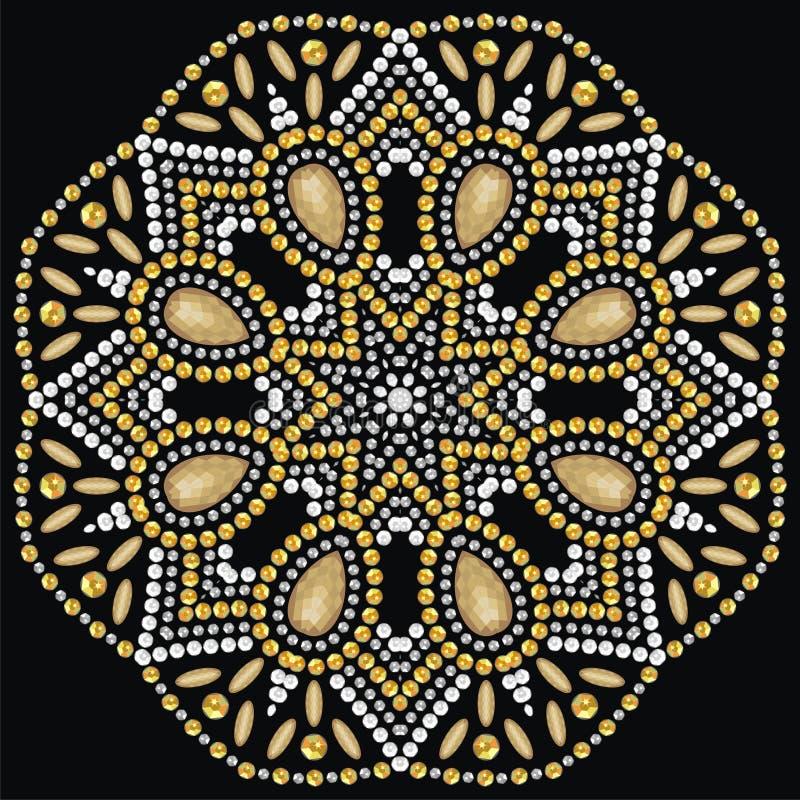 Round beautiful jewelry, medallion, brooch, decoration on neck, mandala, applique rhinestones. Beautiful circle jewelry, medallion, brooch, decoration on neck royalty free illustration
