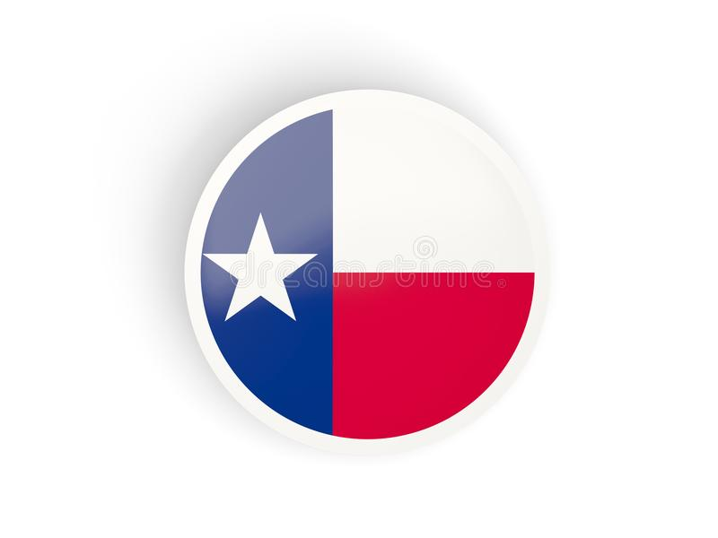 Round bended icon with flag of texas. United states local flags stock illustration