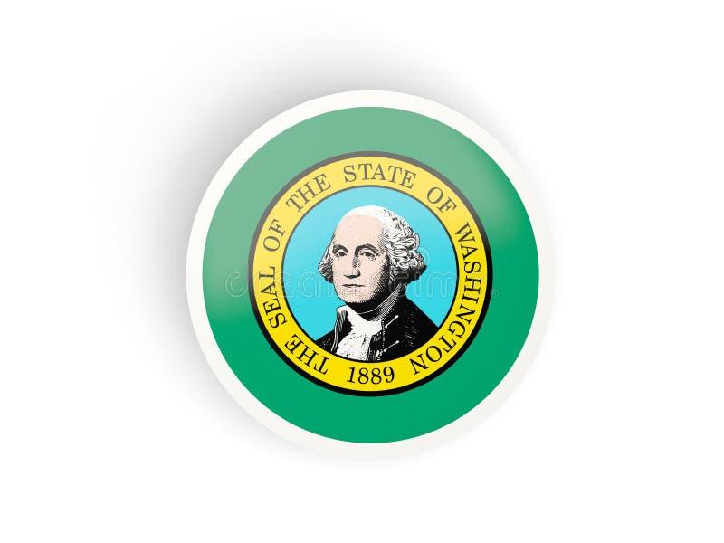 Round bended ikona z flaga Washington Zlany stanu miejscowy f ilustracja wektor