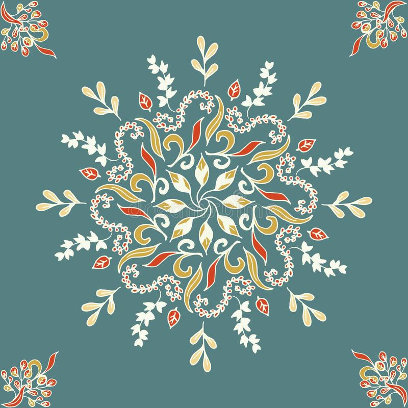 Round bezszwowy deseniowy ornament z przeplatanymi gałąź, kwitnie i fryzuje arabesk Wektorowy kółkowy abstrakcjonistyczny kwiecis ilustracji