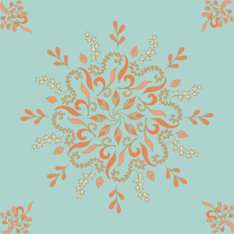 Round bezszwowy deseniowy ornament z przeplatanymi gałąź, kwitnie i fryzuje arabesk Wektorowy kółkowy abstrakcjonistyczny kwiecis royalty ilustracja
