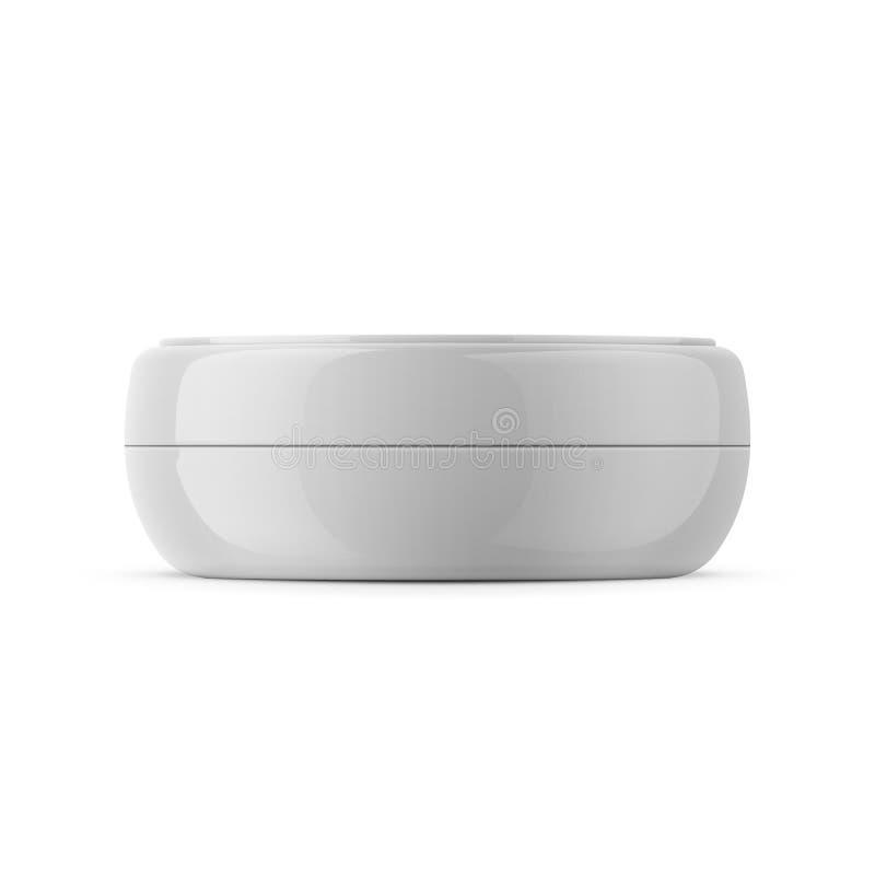 Round biały plastikowy kosmetyczny słoju szablon ilustracji