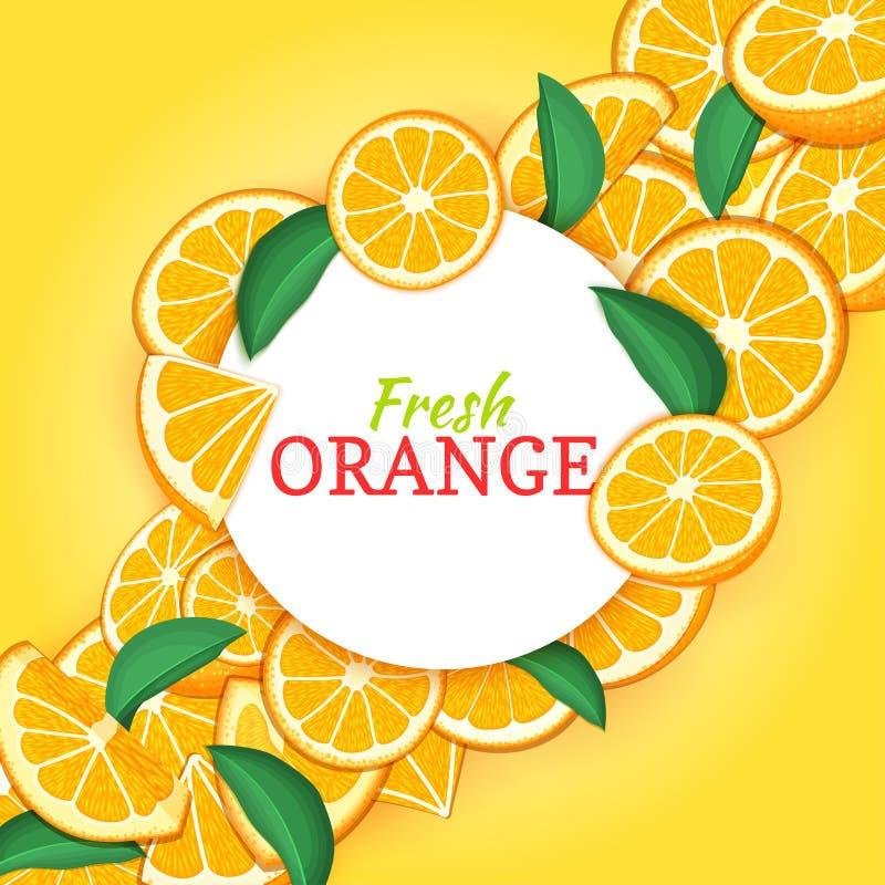 Round biel rama na cytrusa składu pomarańczowym diagonalnym tle Wektor karciana ilustracja Mandaryn rama, tangerine ilustracji